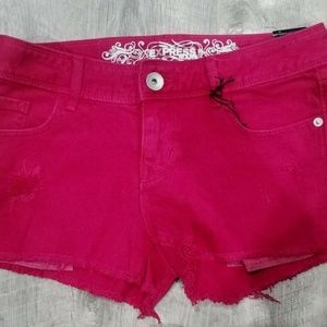 EXPRESS Cutoff shorts Raspberry Red Size 0